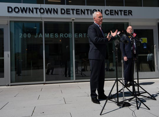 Nashville-Davidson County Sheriff Daron Hall holds a press conference about  the Alex Friedmann case and recent searches of the facility for weapons related to the case at the Downtown Detention Center Thursday, April 2, 2020, in Nashville, Tenn.