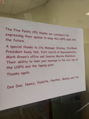 Workers of the Five Points Post Office wrote a note to customers on the door.