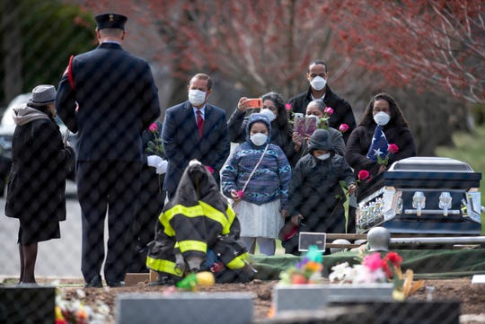 Passaic firefighter Israel Tolentino, 33 who passed away from complications of COVID-19, was laid to rest at East RidgeLawn Cemetery on Thursday, April 2, 2020.