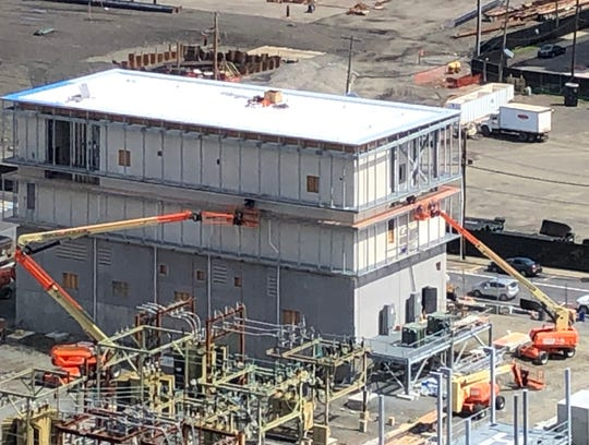 Construction work in New Jersey continues amid the coronavirus crisis. Here workers continue building a PSE&G substation in Hoboken on April 1, 2020.