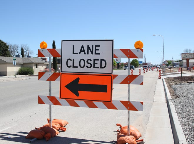 A road barricade greets Artesia commuters April 2, 2020.  Carlsbad area drivers will see similar signs starting Monday as road work starts on London Road south of Carlsbad.