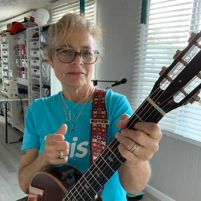 Sallyanne Monti takes a break from performing during her Facebook Live event on April 1, 2020.