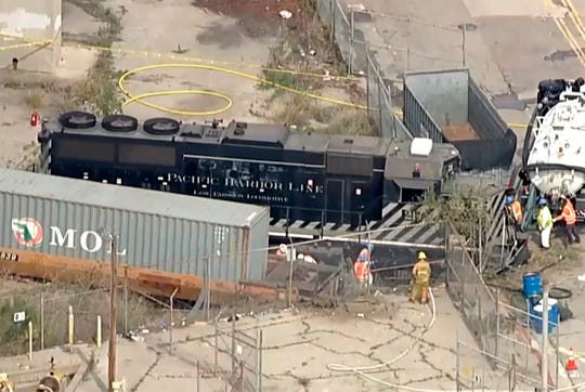 A Pacific Harbor Line train derailed Tuesday, March 31, 2020, at the Port of Los Angeles.
