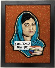 Sue Castelletti's vintage chain stitch embroidery featuring Malala Yousafzai