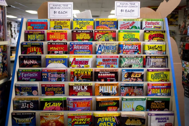 Comic books sit on shelves on April 2, 2020, at Samurai Comics in Phoenix.