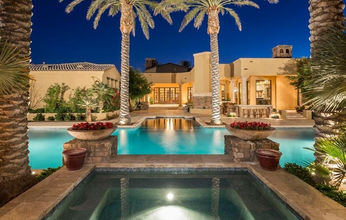 The $2.85M Scottsdale estate, purchased by L & D US Investment Partnership, comes with a resort-style pool.