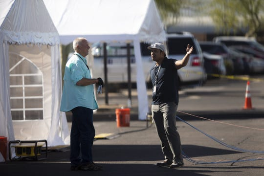 Isolation tents are set up for those showing symptoms of COVID-19 while also experiencing homelessness at the Central Arizona Shelter Services in Phoenix on April 2, 2020.