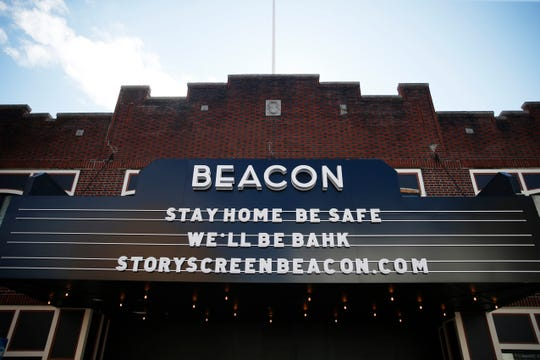 Words of encouragement from Story Screen Cinema in Beacon on March 24, 2020.