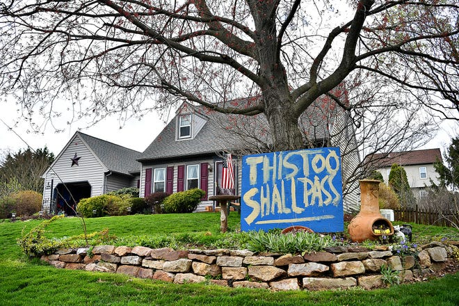 """""""This too shall pass"""" is one of the messages found on South Maurice Street in Manchester Township, Wednesday, April 1, 2020. Dawn J. Sagert photo"""