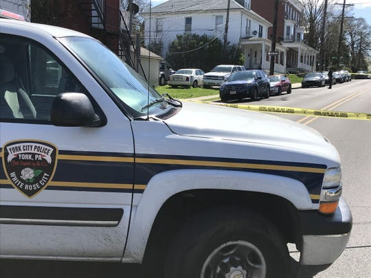 York City Police cordoned off the intersection of West Jackson Street and South Pershing Avenue on Thursday, April 2, 2020 following a shooting. Police said a 19-year-old was shot in the back.