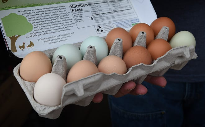 It's just a little after noon and Josh Renner has only one carton of eggs left at Renner Farm in Smith Valley on March 30, 2020. Renner has recently seen an increase in egg sales.