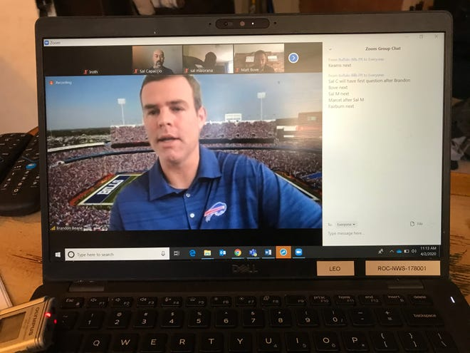 Bills GM Brandon Beane held a video conference call with team beat reporters Thursday. 'There are so many unknowns' he said of dealing with the coronavirus pandemic.
