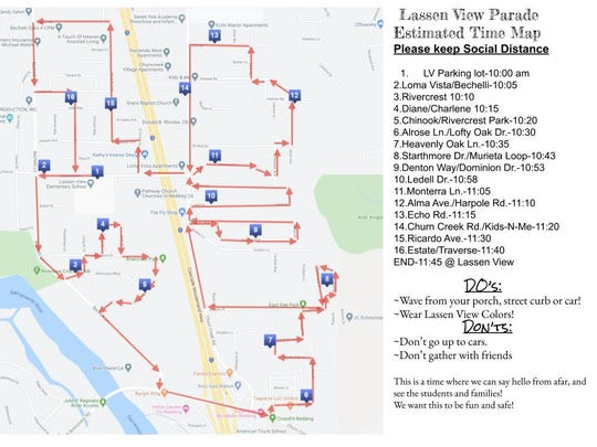 The route for today's Lassen View Elementary School staff parade.