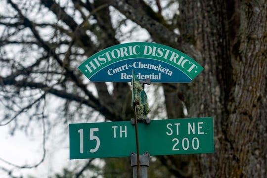 The Court-Chemeketa historic district sign in Salem on Thursday, April 2, 2020.