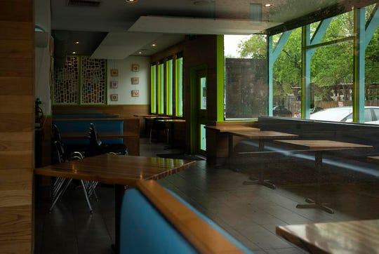 Kerbey Lane Cafe's dining room remains empty during the coronavirus pandemic.