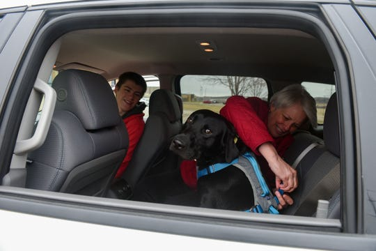 Adam and Stephanie Carlson get their new black lab, Rocky, ready for the drive home after completing the curbside adoption process on Thursday, April 2, at the Sioux Falls Area Humane Society. The shelter has closed its doors during the pandemic, but will allow people to adopt by appointment only at their vehicles.