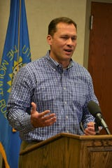 Sanford VP Medical Officer Mike Wilde gives an update to media Thursday, April 2, 2020, about what healthcare providers are doing to prepare for a surge in coronavirus cases within Sioux Falls.