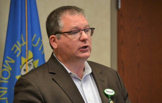 Avera McKennan Chief Medical Officer Mike Elliott gives an update to media Thursday, April 2, 2020, about what healthcare providers are doing to prepare for a surge in coronavirus cases within Sioux Falls.