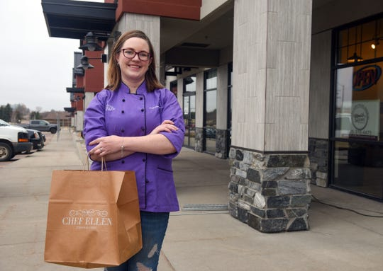 Ellen Doerr stands outside the future location of her personal chef business on Thursday, April 2, on 69th Street in Sioux Falls.