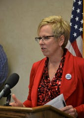 Sioux Falls Public Health Director Jill Franken gives an update to media Thursday, April 2, 2020, about what healthcare providers are doing to prepare for a surge in coronavirus cases within Sioux Falls.