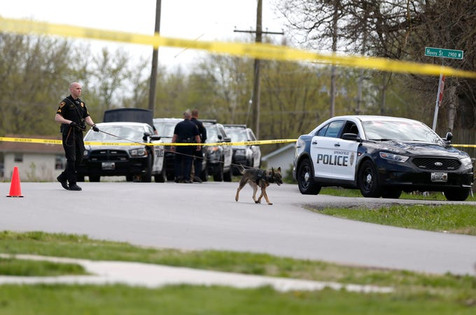 Springfield Police investigate a shooting near the intersection of Division Street and Glenn Avenue on Thursday , April 2, 2020.