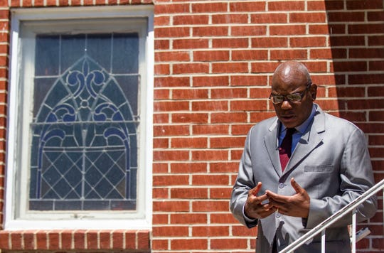 Pastor of Bethel Missionary Church RB Holmes speaks with the Tallahassee Democrat outside his church before he speaks at a press conference inside the sanctuary, Thursday, April 2, 2020.