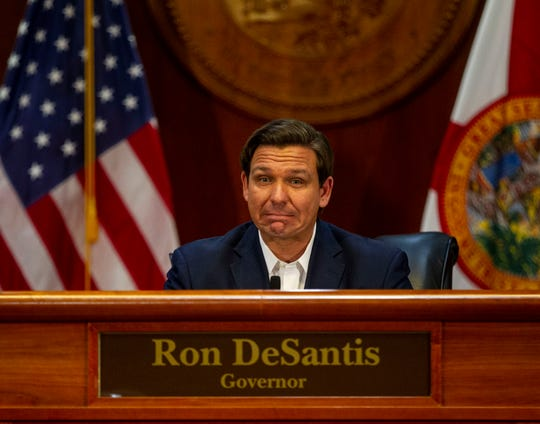 Gov. Ron DeSantis holds a press conference to give the latest updates on coronavirus in Florida, Thursday, April 2, 2020.