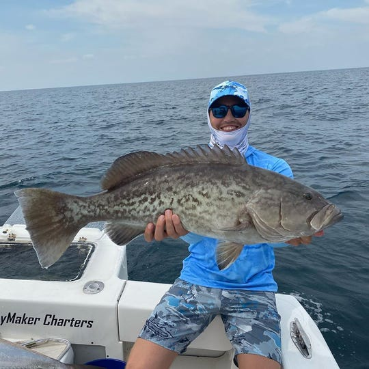 New York Mets outfielder Brandon Nimmo caught and released this nice gag grouper this week while fishing with Capt. Patrick Price of DayMaker charters in Stuart.
