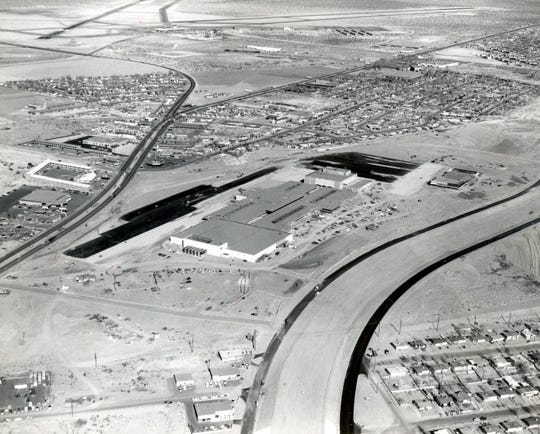 March 1, 1962: An aerial view of Bassett Center shows its easy accessibility in the location between Montana Avenue and Interstate 10. At bottom is The White House, with 101,000 square feet of space on a single floor. Building at top is the Popular Dry Goods Co., with more than 90,000 feet of space on the two floors. A 50-foot wide mall connected more than 40 other stores and businesses.