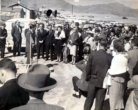 Feb. 19, 1961: Mayor Raymond Telles speaks to assembled officials and spectators during groundbreaking ceremonies at the Bassett Shopping Center site.