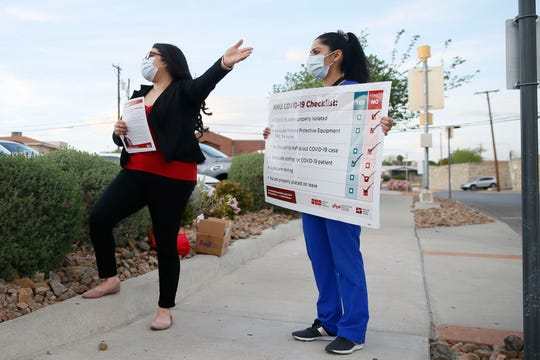 Tishna Soto, a registered nurse at Del Sol Medical Center and union representative, and Lizette Torres, a registered nurse in the labor and delivery unit, speak at Del Sol Medical Center on Wednesday, April 1, about equipment they need in order to be prepared for COVID-19 in El Paso.