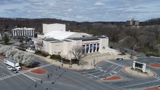 Drone image of the Westchester County Center in White Plains on Thursday, April 2, 2020.