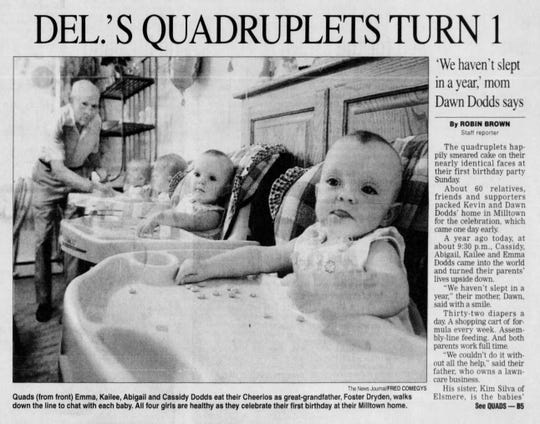 The Dodds quadruplets as seen in The News Journal on August 25, 2003 celebrating their first birthday.
