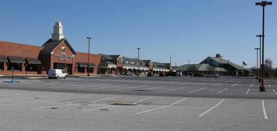 A near empty area of the Governor's Square Shopping Center Thursday morning in Bear.