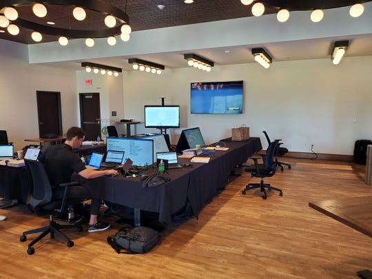 A look at the New Orleans Saints' war room setup at Dixie Brewery.