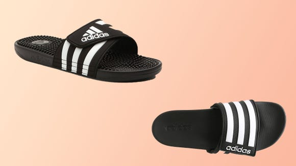 Snag signature Adidas slides for the whole fam.