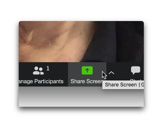 Click Share Screen for safety tools