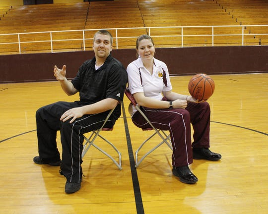 Brother and sister Lance Brasher (left) and Kellie Brasher shown as coaches at Grant in 2011. Their parents David and Debbie are also former coaches.