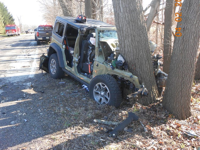 A Burlington man was injured when his car hit a tree Thursday.  Provided