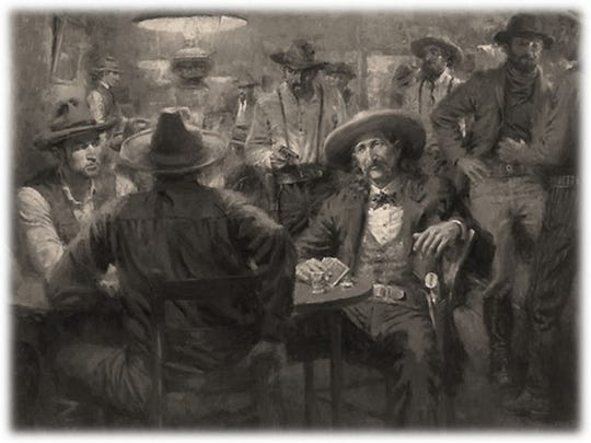 "An illustration of the shooting of ""Wild Bill"" Hickok."