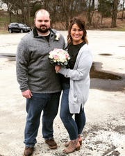 Marc Baker and Alyssa Cinti married on April 3, 2020 in the parking lot of the Vestal Elks Lodge.