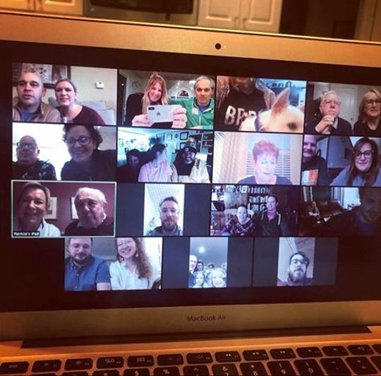The family of Alyssa Cinti and Marc Baker held a virtual happy hour on April, 1 2020 to celebrate their upcoming wedding day.