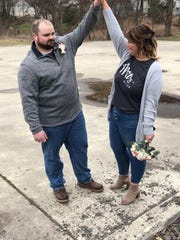 Marc Baker and Alyssa Cinti married on April 3, 2020 in the parking lot of the Vestal Elks Lodge. They had to scrap their initial plans to marry at the DoubleTree by Hilton Hotel in Downtown Binghamton due to venue restrictions enacted to prevent the spread of COVID-19.