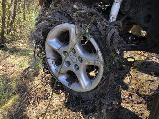 A suspected drunken driver seriously injured Tuesday morning when he crashed near Silverdale had been driving on a blown tire.