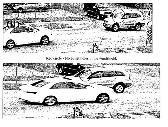 Two separate frames recorded moments apart show holes appear in Ricky Gilbert's windshield as the suspect's vehicle passed him, according to arrest reports.