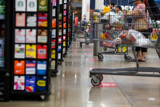 H-E-B has put several measures in place to encourage social distancing. Footprints on the floor indicate where shoppers should stop and wait before advancing to check out. All stores in the Corpus Christi area have been updated as of Friday, April 3, 2020.