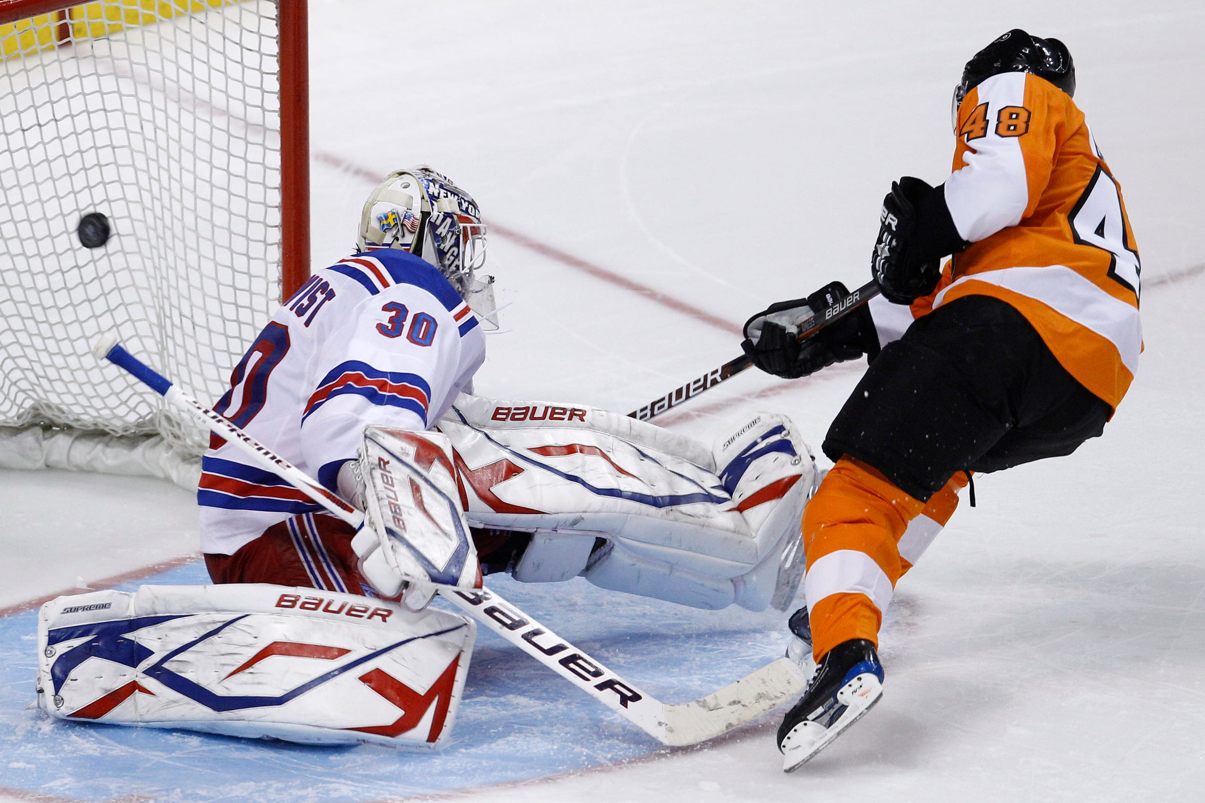 Danny Briere was the first to go in the shootout and beat Henrik Lundqvist in close.