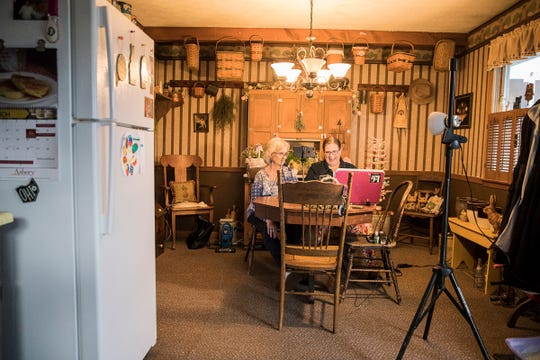 """In isolation with her mother Sharon, local comedian Lori Graves does a comedy show online named """"Ask the Sharon with Lori Graves"""" In the dining room of her mother's home. Due to her mother's age, Sharon is classified as a high risk."""