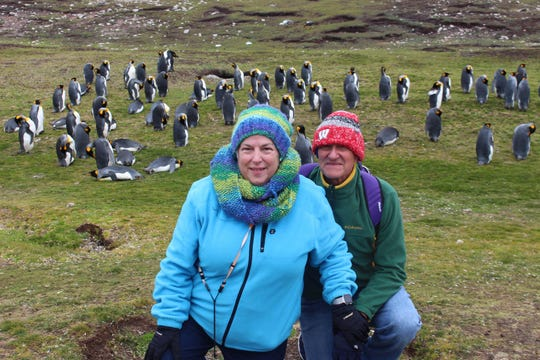 Andrea Anderson and her husband, Rob, pose for a picture during a cruise of South America.