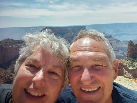Andrea and Rob Anderson pose for a picture during a previous vacation. The Warren County couple were quarantined in their room on a cruise in March.